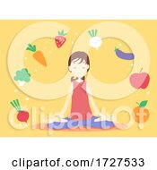 Girl Meditate Fresh Foods Illustration