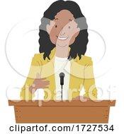 Girl Black Podium Speech Illustration
