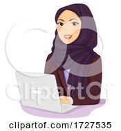 Poster, Art Print Of Girl Business Woman Laptop Qatar Illustration