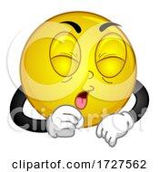 Smiley Mascot Cough Illustration