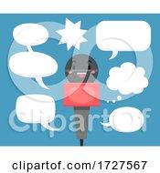 Mascot Media Microphone Speech Bubble Illustration