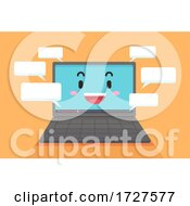 Mascot Laptop Speech Bubble Comments Illustration