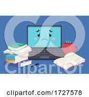 Poster, Art Print Of Mascot Laptop Tired Books Illustration