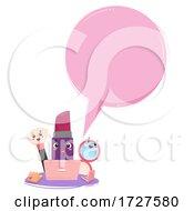 Mascot Lipstick Laptop Speech Bubble Illustration