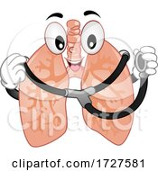 Mascot Lungs Hold Stethoscope Illustration