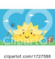 Mascot Sun Farm Barn Illustration