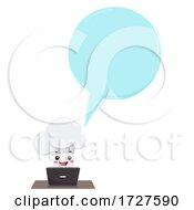Mascot Chef Hat Laptop Speech Bubble Illustration