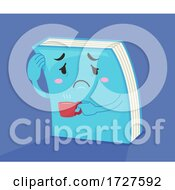 Poster, Art Print Of Mascot Book Tired Coffee Illustration