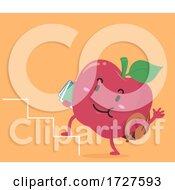 Mascot Apple Education Stairs Illustration