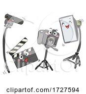 Video Camera Clapper Light Boom Illustration