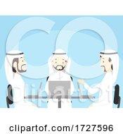 Poster, Art Print Of Man Qatar Laptop Student Discuss Illustration