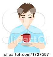 Poster, Art Print Of Man Drink Hold Coffee Illustration