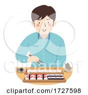 Man Eat Sushi Chopsticks Illustration
