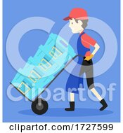 Man Fish Delivery Boy Illustration