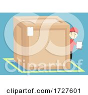 Man Big Crate Board Illustration