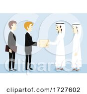 Men Give Certificate Qatar Illustration