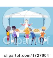 Man People Pizza Stall Illustration