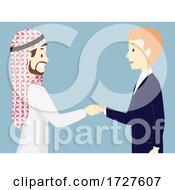 Poster, Art Print Of Men Arab Business Man Shake Hands Illustration