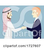 Men Arab Business Man Shake Hands Illustration