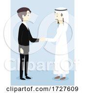 Poster, Art Print Of Men Formal Qatar Shake Hands Illustration