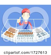 Man Sell Fish Market Okay Illustration