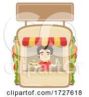 Man Sandwich Store Illustration