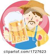 Man Give Mug Beer Farm Illustration