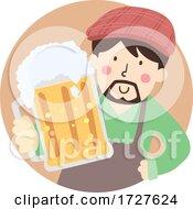 Man Give Mug Craft Beer Illustration