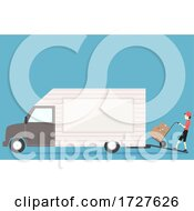 Man Loading Boxes Truck Illustration