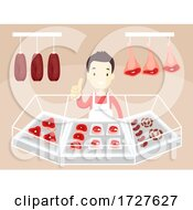 Man Meat Counter Okay Illustration