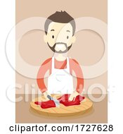 Man Meat Cutting Apron Illustration