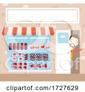 Man Meat Front Shop Waving Open Illustration