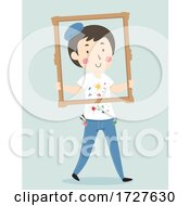 Poster, Art Print Of Man Painter Frame Walk Illustration