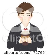 Poster, Art Print Of Man Business Attire Drink Hold Coffee Illustration