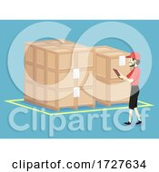 Man Check Warehouse Crates Illustration