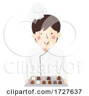 Man Chocolatier Hold Chocolates Illustration