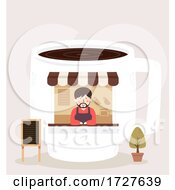 Poster, Art Print Of Man Coffee Shop Illustration