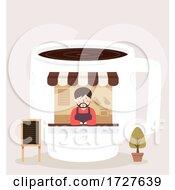 Man Coffee Shop Illustration