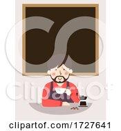 Man Cup Coffee Board Illustration