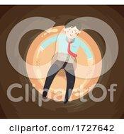 Poster, Art Print Of Man Donut Coffee Float Illustration