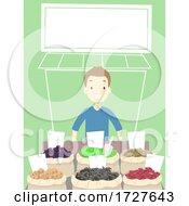 Man Dried Fruits Store Marketplace Illustration