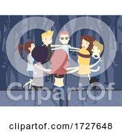 Poster, Art Print Of People Man Girl Concert Hug Pit Illustration