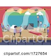 People Setup Theater Stage Illustration