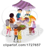 People Stickman Farmers Market Illustration