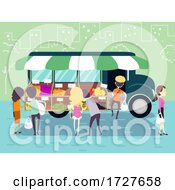 People Girl Truck Mobile Market Buy Illustration