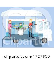 Poster, Art Print Of People Truck Stage Band Playing Illustration