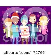 People Christmas Carol Candle Lights Illustration