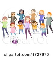 People Stickman Play Group Dance Illustration