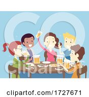 People Friends Drink Beer Day Illustration