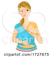 Mom Woman Breast Feed Baby Sling Illustration